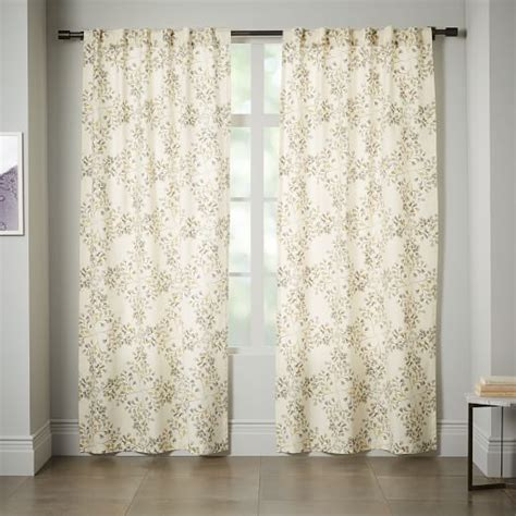canvas curtain cotton canvas vine lattice curtain horseradish west elm