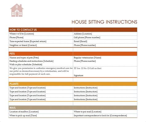 House Sitting Checklist House Sitter Checklist Pet Sitter List Template