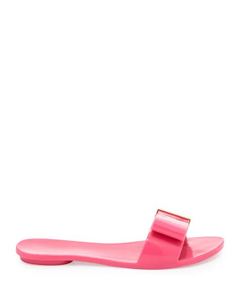 Jelly Shoes Slide Ladia 1 shoes lovely bow flat slide jelly sandal pink