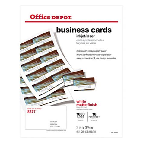 office depot brand matte business cards 2 x 3 12 white