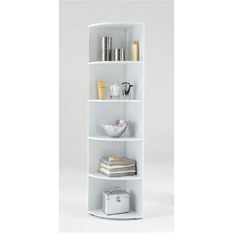 ecki2 wooden corner shelf in white with five compartments