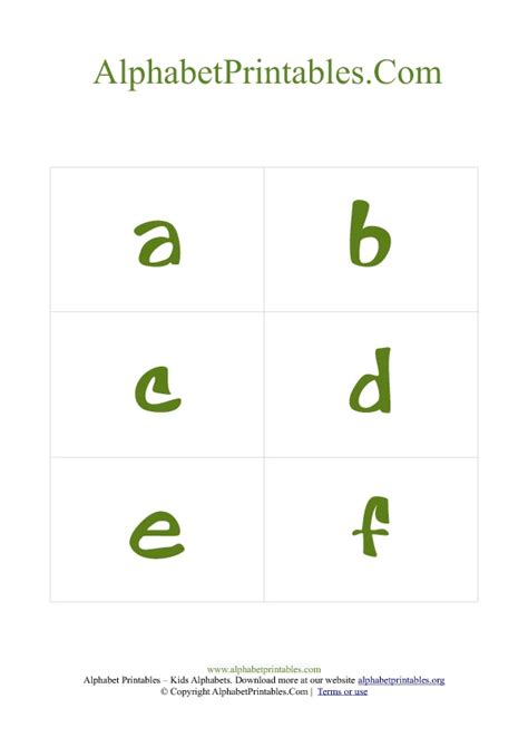 alphabet card free template alphabet flash cards pdf template lowercase green