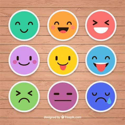 Emoticon Sticker colorful stickers of emoticons vector free