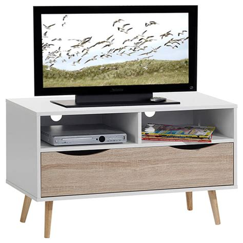 meubles tv meuble tv genova blanc chene sonoma