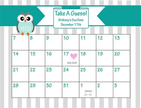 baby shower calendar template printable due date calendar baby shower guess