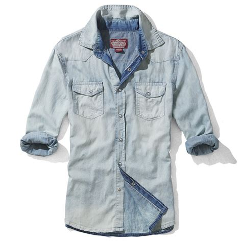Washed Denim Shirt mens washed fitted sleeve denim shirts cw114220