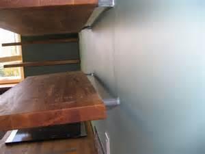 turning ikea butcher block into floating shelves kitchen massive u shaped butcher block work bench with matching shelf