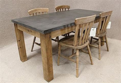 Metal Kitchen Table Zinc Topped Table Reclaimed Pine Base And Available In Three Sizes