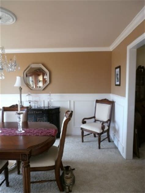 dining room re do crown molding faux wainscoting detailed chair rail wall paint color