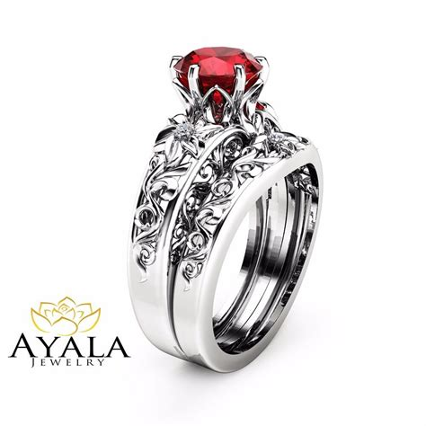 Ruby Engagement Rings by Ruby Engagement Ring Set Unique 14k White Gold
