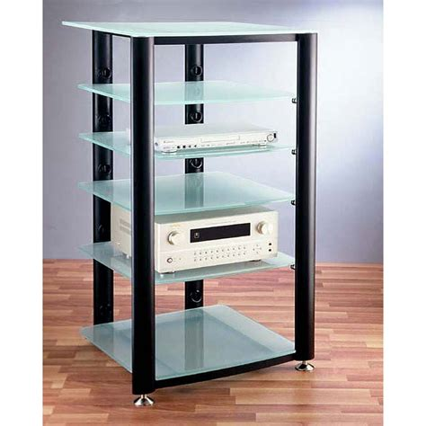 Audio Video Racks Vti 6 Shelf Audio Video Rack Black With Frosted Glass Hgr406bf