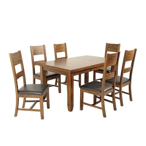 Alexis Wooden Dining Table In Acacia Wood With 6 Dining Acacia Wood Dining Room Furniture