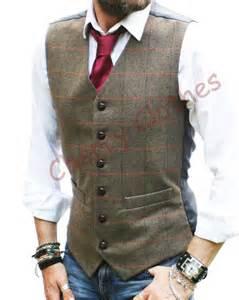Mens wool blend herringbone tweed check brown waistcoat vest s m l