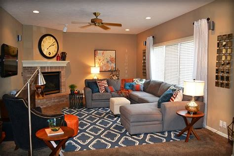 Orange Grey Living Room by Blue Orange And Gray Living Room 2 Fluff Designs