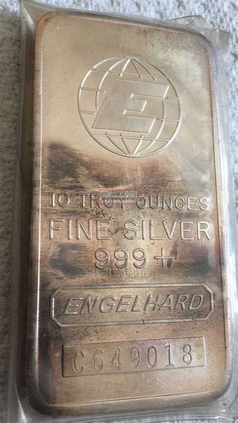 10 troy ounce 999 silver bar 10 oz engelhard silver bar 10 troy ounces 999 silver