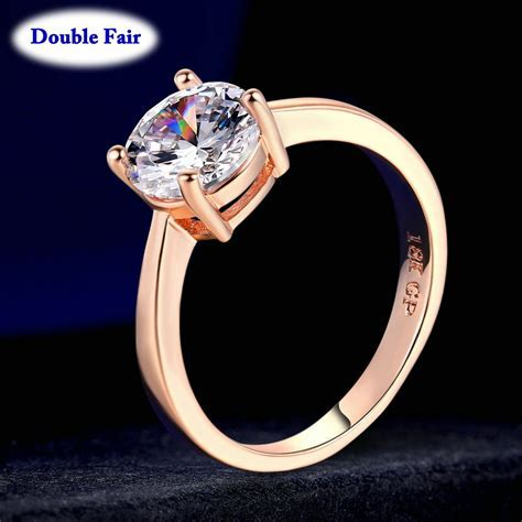 Top Quality Round AAA  Cubic Zirconia Rose/White Gold