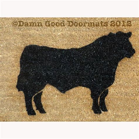 cattle rug black angus cow doormat entrance rug by damngooddoormats on etsy
