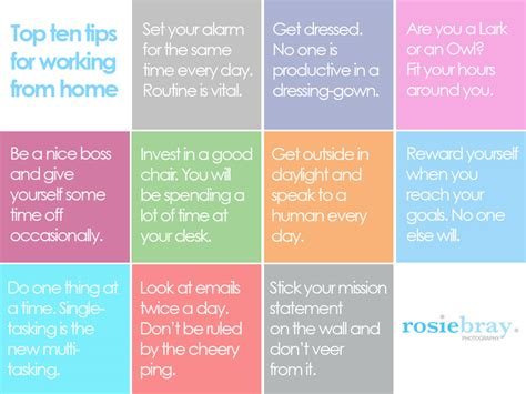 home tips working from home tips top ten tips for home workers infographic