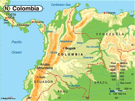 physical map of colombia colombia physical map by maps from maps world s