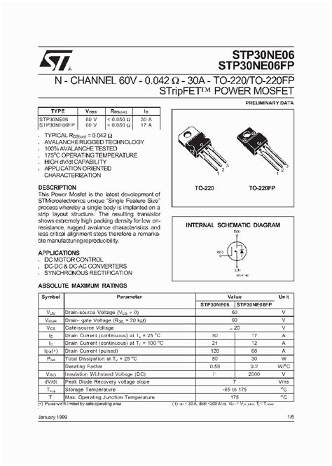 transistor mosfet datasheet stp30ne06 64894 pdf datasheet ic on line