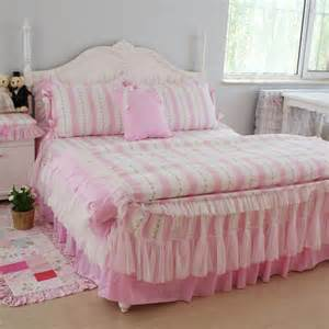 luxury white lace bedding sets pink striped