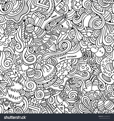 new year seamless pattern doodles new year stock vector 324458414