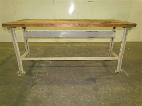butcher block bench lyon vintage industrial butcher block workbench table