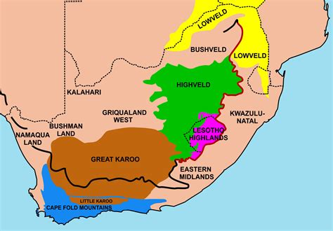 regional map of south africa geography of south africa