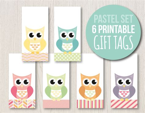 printable hanging gift tags pastel gift tag set owl hang tags owl labels printable