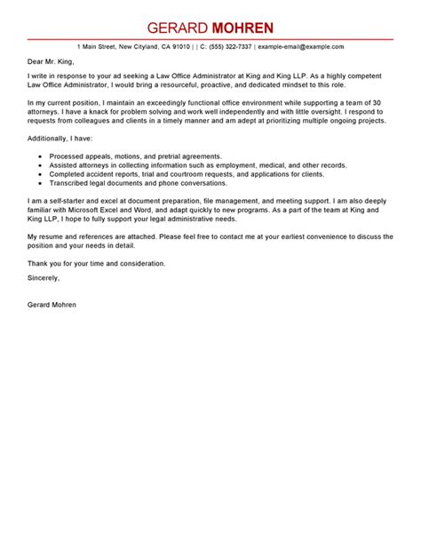 Cover Letter Office Administrator by Best Office Administrator Cover Letter Exles Livecareer