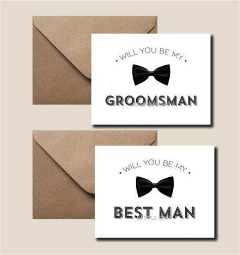 Will You Be My Best Man Card Will You Be My Groomsman Ring Bearer Usher Etc Printable Set Of Will You Be My Best Template