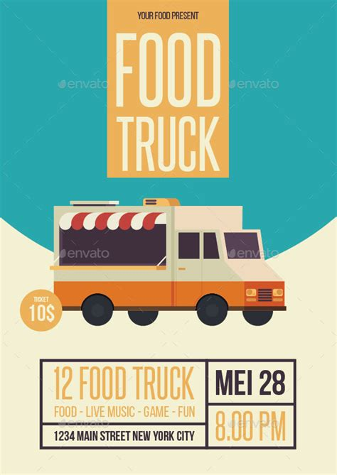 Food Truck Flyer By Ming Ming Graphicriver Food Truck Powerpoint Templates
