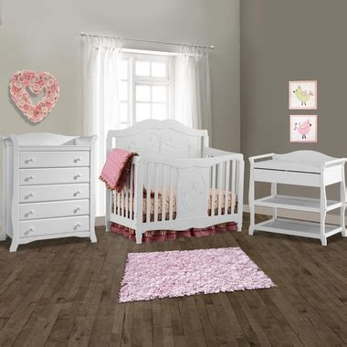 Storkcraft 3 Piece Nursery Set Princess Convertible Crib White Crib And Changing Table Set