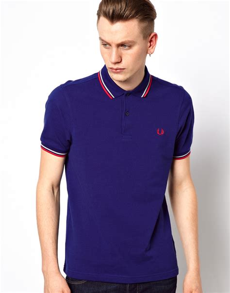 fred perry twin tipped fred perry inky blue girl polo lyst fred perry slim polo with twin tip in blue for men