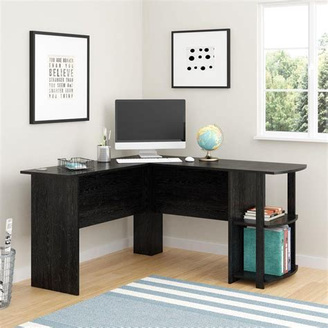 Ameriwood Corner Desk With 2 Shelves In Black Ebony Ash Desk In Corner