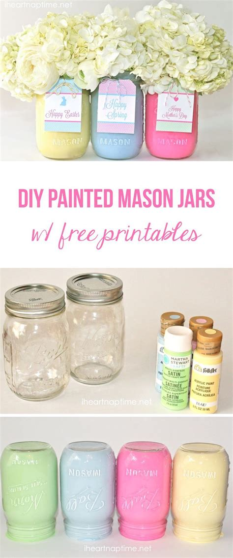 jar crafts diy diy painted jars with free tags these make a