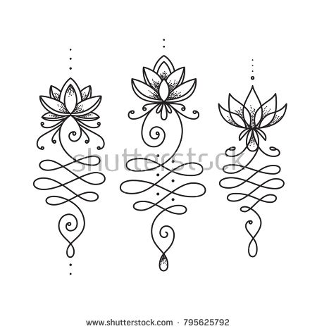lotus with latina accents tattoos art of life unalome lotus flower symbol buddhism life stock vector