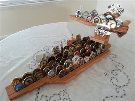 Aircraft Carrier And F 18 Challenge Coin Display By