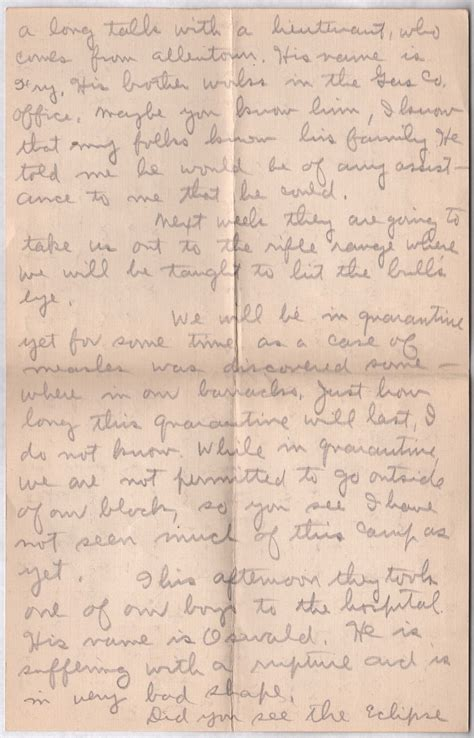 Service Letter Hartzell Log Cabin Memorial Soldiers Of The 314th Infantry Regiment A E F E Hartzell Letters