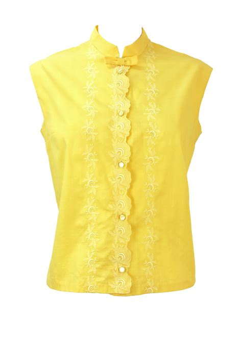 yellow and white l vintage 1960 s sleeveless yellow blouse with white