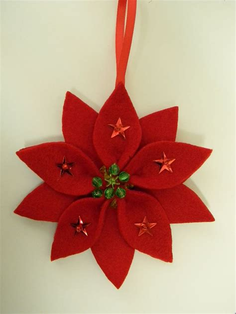 felt poinsettia ornament my christmas handmade
