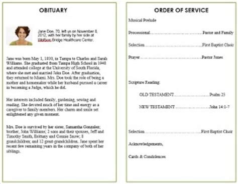order of service template word pin by giddens on printable funeral program