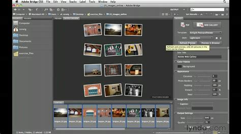 tutorial website gallery adobe bridge cs5 creating a web gallery lynda com