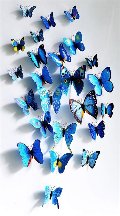 12 24 3d blue butterfly 12 styles 3d butterfly decoration wall stickers diy 3d