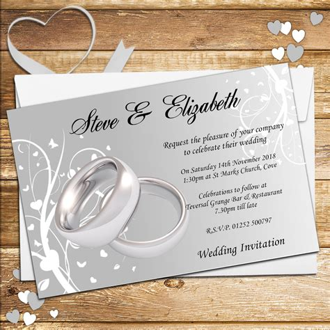 Wedding Invitations Ring Design by 10 Personalised Wedding Invitations Day Evening N44 Silver