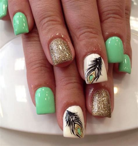 Nail 3d Peacock White 25 best ideas about feather nail designs on