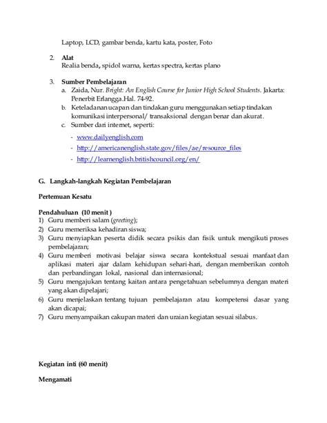 rpp   school kurikulum  bahasa inggris smpmts