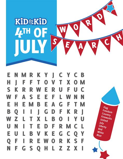 printable word search fourth of july fun 4th of july word search kid to kid
