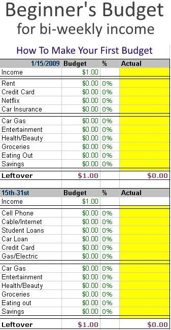 Creating A Beginner S Budget Especially For Bi Weekly Paychecks Budget Template Spreadsheets Paycheck Planner Template