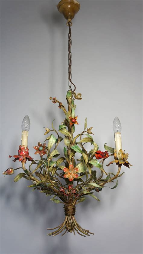 Flower Chandelier Tole Chandelier With Flowers At 1stdibs